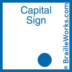 Image showing the braille character signifying a capital letter. Created and owned by Braille Works.