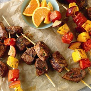 Citrus Marinated Beef & Fruit Kabobs