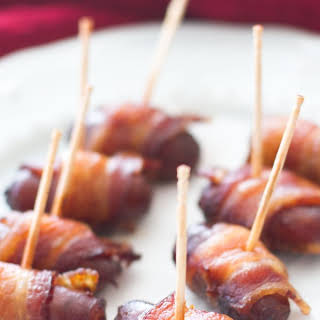 Slow Cooker Peach Barbecue Bacon Wrapped Smokies.