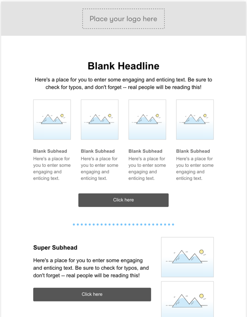four column visual email builder template