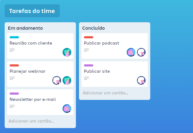 Captura de tela do dashboard do Trello
