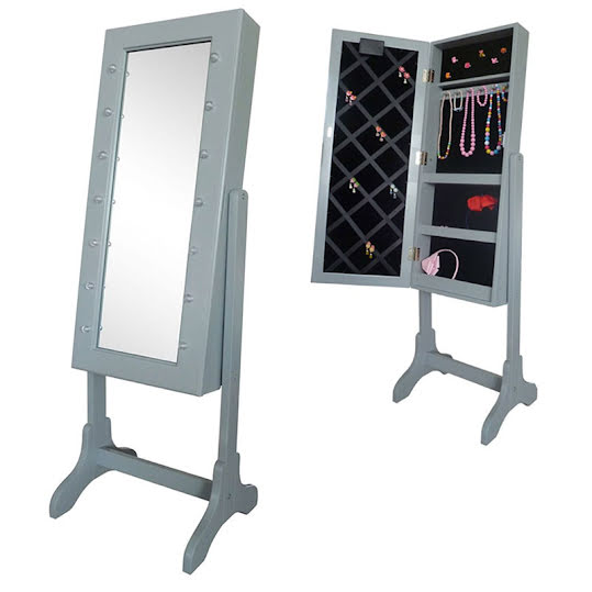 JOX Floor Mirror & Jewelry Storage with LED-lights Grey
