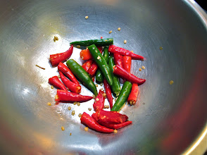 Photo: crushed whole Thai chillies for the soup