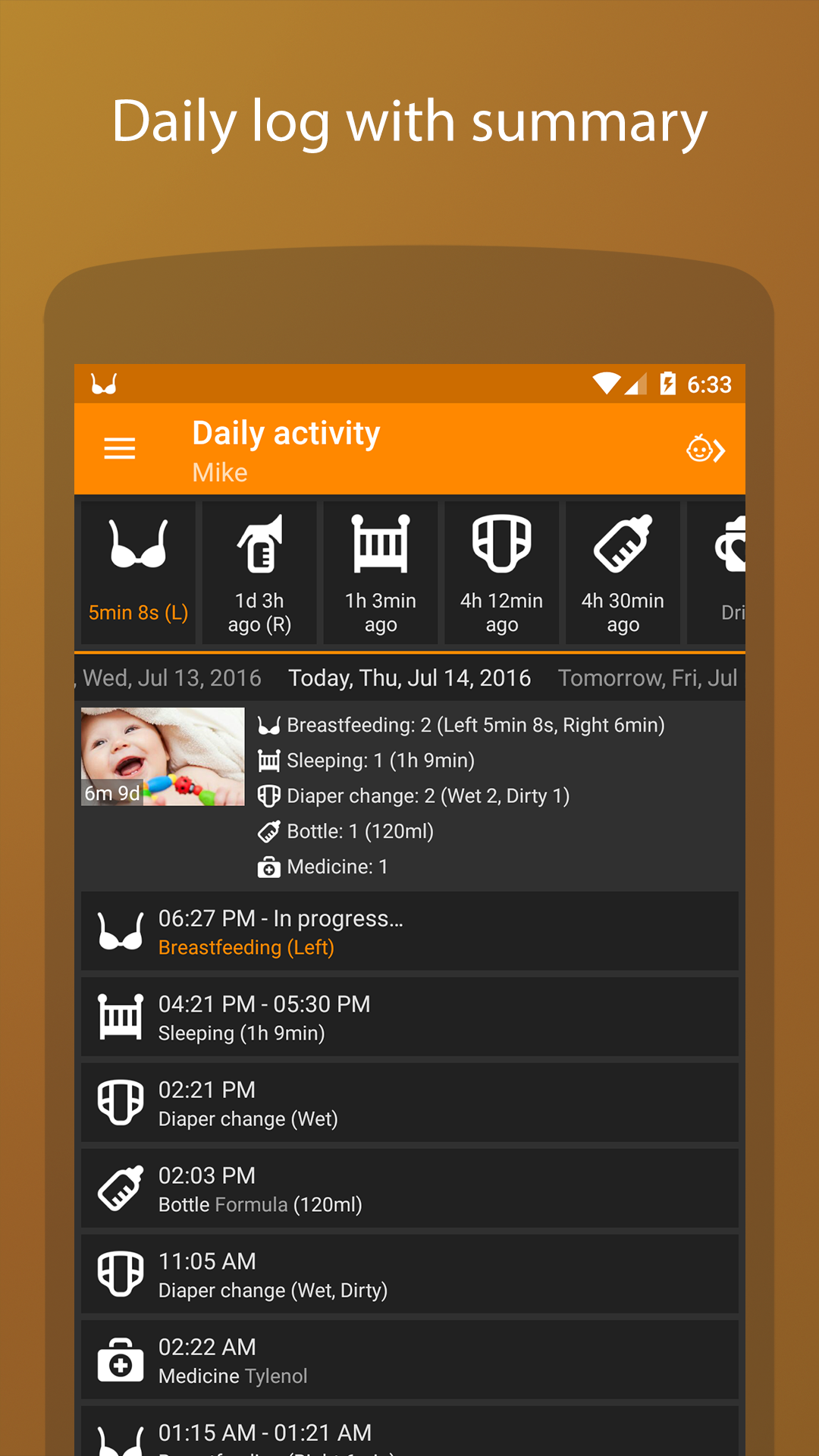 Baby Daybook - daily tracker screenshot #1