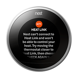 H71 error message on thermostat