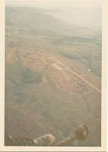Photo: A Battery 1/77 evacuation from LZ Peanuts.  Looking down on airfield of Khe Sanh. May 5, 1968.
