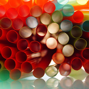 Different Holes by Angelika Sauer - Artistic Objects Other Objects ( abstract, colors, art, reflections, angelika sauer, close up, rays, light and shadow, macro, pattern, lighting, photographer, soft light, artistic objects, straws, rainbow )