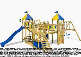 Photo: MK477 , 4 tornyú lovagvár .1 torony : 120 cm dobogómagasság , tető nélkül , rámpa feljárat .2 torony : 120 dobogómagasság , függőleges  mászófal fa fogásokkal , tetővel . a két tornyot függőhíd köti össze. , 3 torony : 150 dobogómagasság , tetővel , alul piknikasztal . az 1,toronnyal  egy fix híd köti össze , alatta alacsony homokozókerettel . 4 torony :  tető nélküli , 100 cm dobogómagassággal, kötéllétrával .  a tornyokhoz egyik irányban egy óriás mászóháló fallal , a másik irányban egy  gerenda híddal kapcsolódik . ára  550 000 ft. hintamodul 30 000 ft , hintacsuk lók 1 000 ft/db , hinták 4 000 ft/db-tól , csúszda 25 000 ft  kapaszkodók 1 000 ft/db . műanyag fogások 1 400 ft/db , kormány 4 000 ft-tól , távcső  4 000 ft-tól .festés MILESI lazúrral 2 rétegben 210 000 ft . szállításra külön érdeklődjön , szerelés 80 000 ft , beton tuskós talajhoz rögzítés  anyaggal 3 500ft/db-tól . a képen egy számítógépes grafika látható , a termék a valóságban kis mértékben eltérő külalakú !