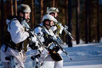 Photo: Soldater fra Telemark bataljon trener på RenaSoldiers from Telemark Batalion during an exercise at Rena