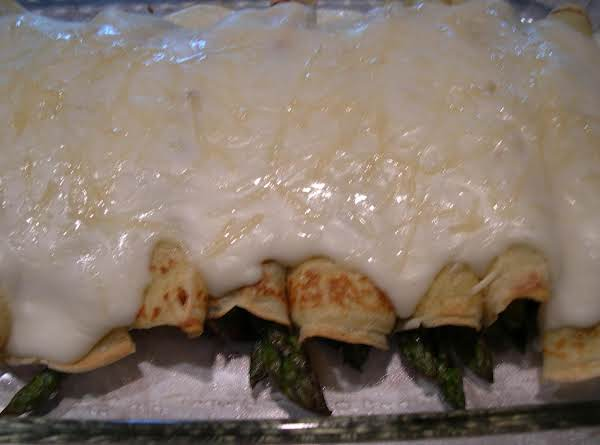 Asparagus Mushroom Parmesan Crepes