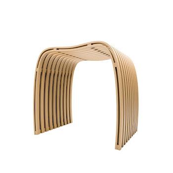 Tabouret de douche, bambou nature, 40,5 x 30,5 x 46 cm