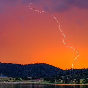 Lightning over Lake Wallace by Brent McKee - Landscapes Weather ( lightning, sunset, lake wallace, weather, fuji, storm )