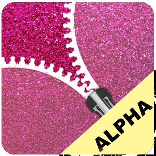 Pink Glitter Zip Locker Alpha free wallpaper theme