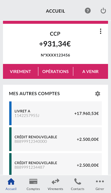 La Banque Postale Android App Screenshot