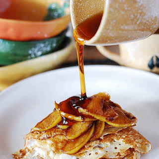 Crepes With Caramelized Apples And Ricotta Cheese Filling.