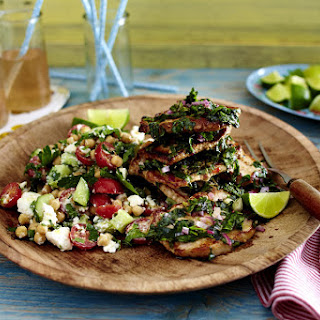 Herb Lime Pork Steaks with Chickpea Salad