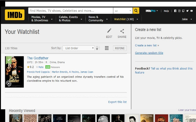 Imdb Watchlist Random Movie Generator