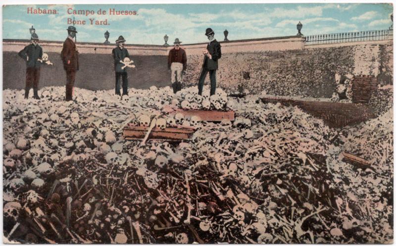 As pilhas de ossos do cemitério Colon em Havana