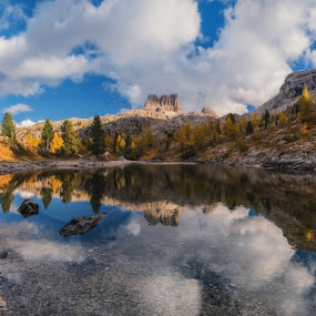 Italy. Dolomites. Autumn on lake Limides and views of mount Aver by Александр Науменко - Landscapes Waterscapes ( mountain, europe, peak, rock, travel, landscape, panorama, sun, alpine, sky, nature, tree, autumn, italy, limides, alps, water, hill, lagazuoi, national, beautiful, tourism, forest, lake, scenic, mount, blue, sunset, background, outdoors, cloud, view, scenery, dolomites, natural )