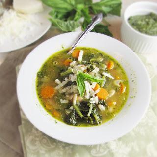 White Bean, Kale, and Pesto Soup