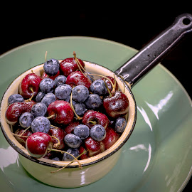 BLUEBERRY & CHERRY BOWL by Jim Downey - Food & Drink Fruits & Vegetables ( yell pan, cherry, blueberry, enamelware, green dish )