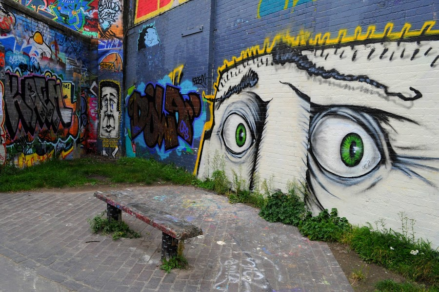 Eyes to the Right by DJ Cockburn - City,  Street & Park  Street Scenes ( hackney, bench, hackney wick, towpath, hertford union canal, canal, england, london, graffiti, stratford, waterway, pavement, sidewalk,  )