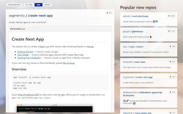 React Repositories New Tab