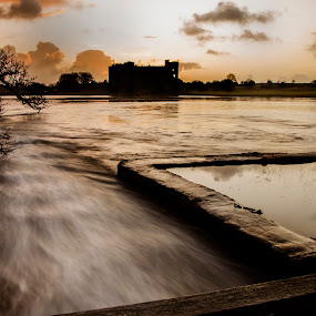 Carew Castle and Lake by Simon West - Landscapes Waterscapes ( water, united, kingdom, carew, wales, pembrokeshire, silhouette, south, castle, lake, landscape, silhouetted )