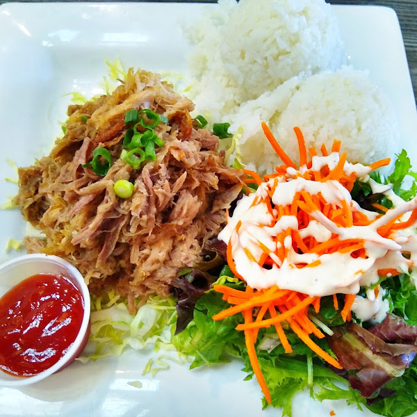 Kahlua pork with side salad and ranch