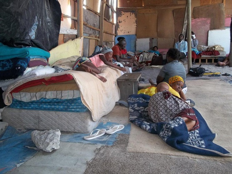 After their shacks were removed, land occupiers have moved into this makeshift shack in Mfuleni.
