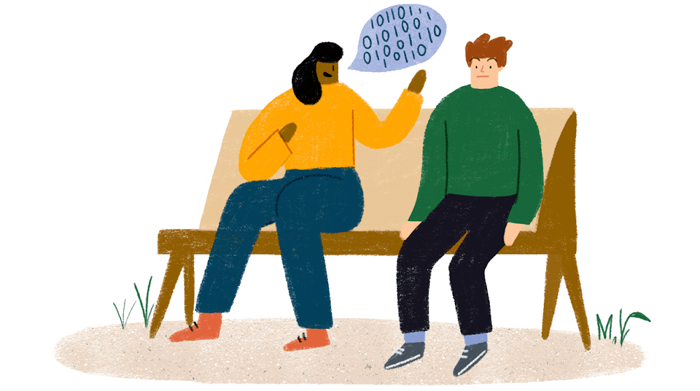 Two people sit beside each other on a bench. One of them talks to the other via a speech bubble loaded with 0s and 1s.