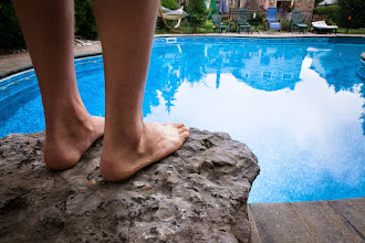 Photo: A diving stone, built right into the pool patio...