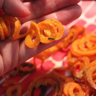 Spiralized Garlic Rosemary Sweet Potato Fries – Oven Baked, Not Fried.