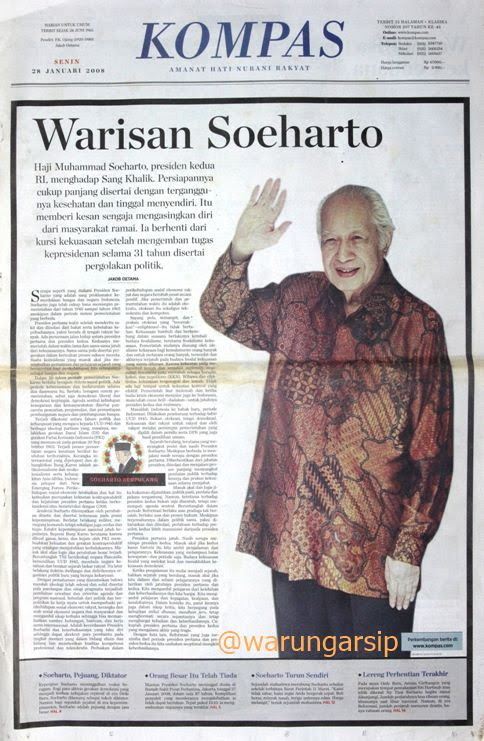 Image result for kompas edisi kematian soeharto