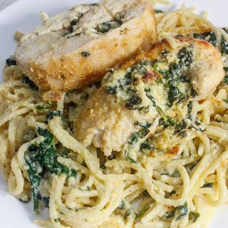 Pasta Lovers Love Spinach and Mozzarella Stuffed Chicken Breast with Spinach Alfredo Spaghetti.