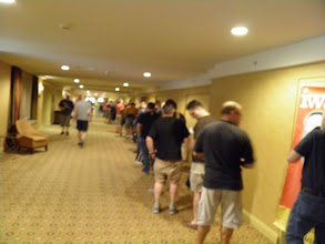 Photo: The line to the Vendors room for the early in hopefuls.  Sorry about the blurry picture, the camera hadn't woken up yet.