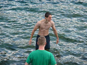 Photo: The real men got into the water.