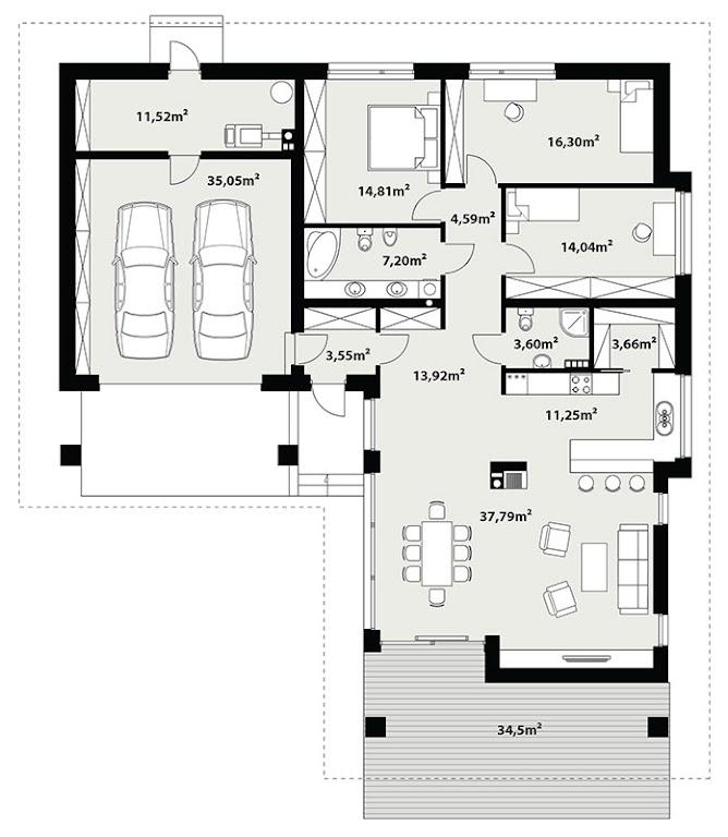 Projekt Domu Kreo 2 Tzn 735 14223m²