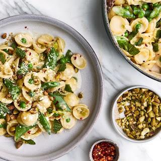 Orecchiette with Buttermilk, Peas, and Pistachios.