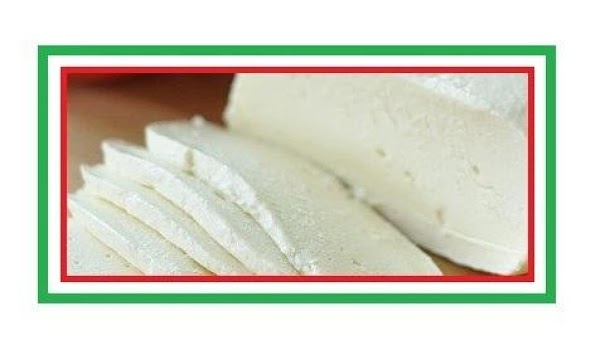 The large chunk of mozzarella can be sliced, cubed or broken into little pieces...