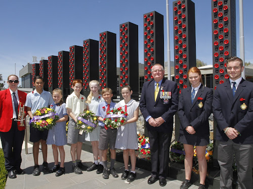 The community's young leaders continue the tradition of respectful commemoration. At Saturday's service were cornet player Sarah Smith, with school captains and wreath layers Jinali Trindall and Chloe Irvine (Narrabri Public School), Sid Harvey and Eliza Dampney (St Francis Xavier's), Marlin Ryman and Charlette Smith (Narrabri West Public), RSL sub branch president Gary Mason, and Narrabri High School's incoming 2018 captains Chelsea Hancock and Adam Hennessy.