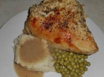 Roasted Chicken Breast with taters and gravy (made w/healthier choices)