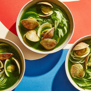 The Greenest Coconut Curry with Clams and Rice Noodles.