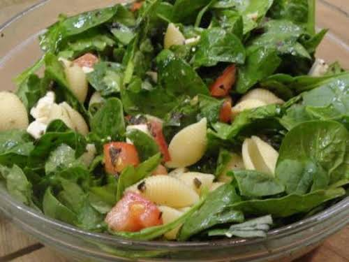 """Caprese Spinach Pasta Salad """"My husband loved this and I did not..."""