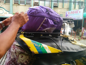 Photo: Arrived in Dagupan safe and dry, oh and here's my bag on top of the tricycle.