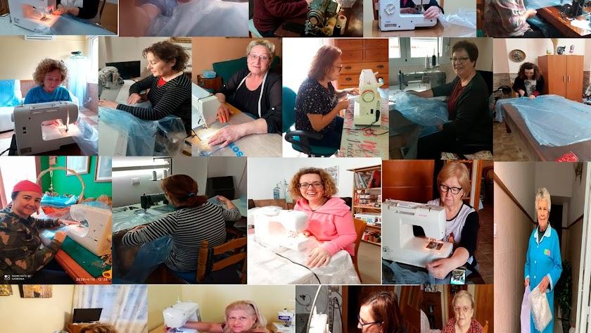 Mosaico con las imágenes de las costureras voluntarias que han confeccionado las batas y los patucos.