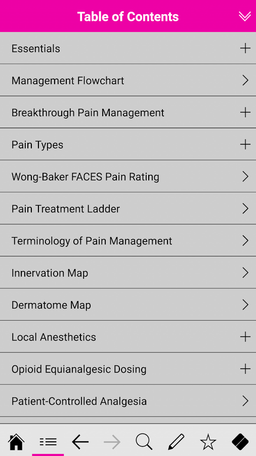 Pain Management pocketcards- screenshot