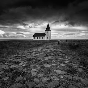 That Old Church by Rashid Ramdan - Black & White Buildings & Architecture ( canon, iceland, church, hellnar, black and white, architecture, travel, landscape, photography )