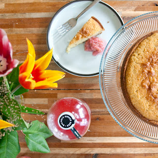 Fresh Ginger And Buttermilk Cake With Poached Rhubarb
