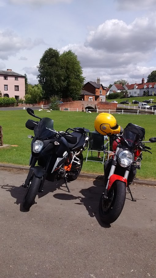 Finchingfield village green Ducati Monster 1200
